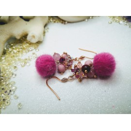 Pink pompon gyöngyökkel