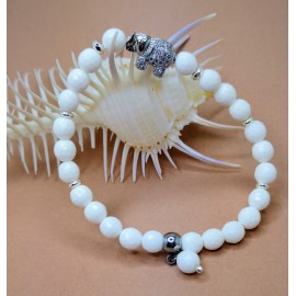 Kagylóhéj gyöngy /ezüst elefánt